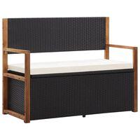 vidaXL Úložná lavice 110 cm polyratan a masivní akáciové dřevo černá