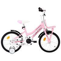 vidaXL Dětské kolo s předním nosičem 16'' bílo-růžové