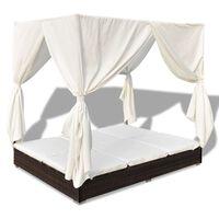 vidaXL Zahradní postel se závěsy polyratan hnědá