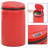 vidaXL Odpadkový koš s automatickým senzorem 40l uhlíková ocel červený