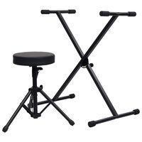 vidaXL Set stojanu na klávesy a stolička černý