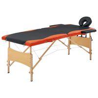vidaXL Skládací masážní stůl 2 zóny dřevěný černý a oranžový