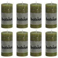 Bolsius Rustikální válcové svíčky 8 ks 100 x 50 mm olivové