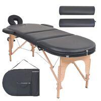 vidaXL Skládací masážní stůl tloušťka 4 cm 2 podhlavníky oválný černý