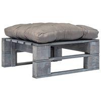 vidaXL Zahradní taburet z palet s šedou poduškou šedý dřevo