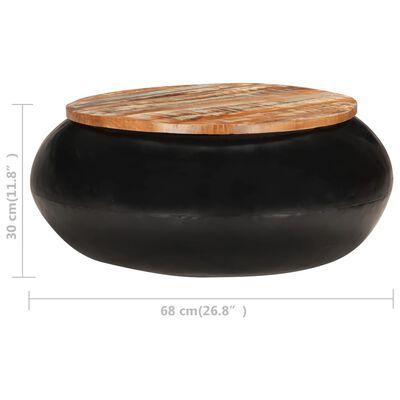 vidaXL Konferenční stolek černý 68x68x30 cm masivní recyklované dřevo
