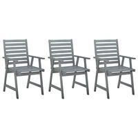 vidaXL Zahradní jídelní židle 3 ks šedé masivní akáciové dřevo