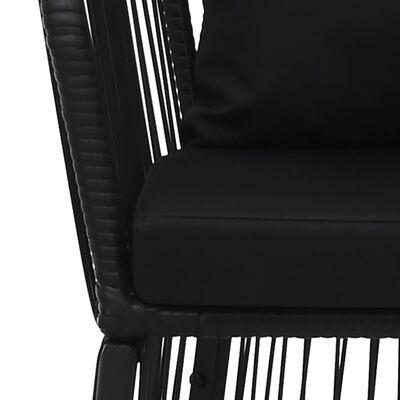 vidaXL 7dílný jídelní set s poduškami a polštáři PVC ratan černý