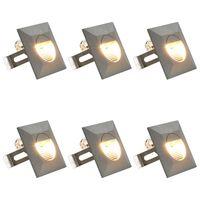 vidaXL Venkovní LED nástěnná svítidla 6 ks 5 W stříbrná čtvercová