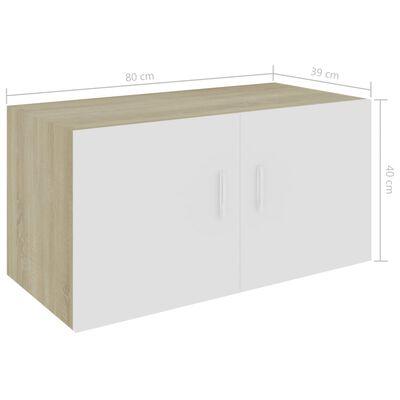vidaXL Nástěnná skříňka bílá a sonoma dub 80 x 39 x 40 cm dřevotříska