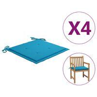 vidaXL Podušky na zahradní židle 4 ks modré 50 x 50 x 4 cm textil