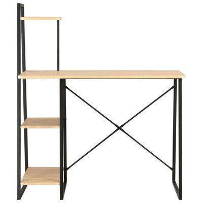 vidaXL Psací stůl s poličkami černý a dubový odstín 102 x 50 x 117 cm