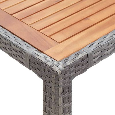 vidaXL Zahradní stůl šedý 150 x 90 x 75 cm polyratan a masivní akácie