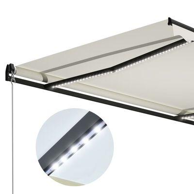 vidaXL Ručně zatahovací markýza s LED světlem 400 x 300 cm krémová