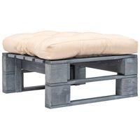 vidaXL Zahradní taburet z palet s pískovou poduškou šedý dřevo