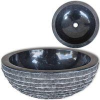 vidaXL Umyvadlo mramorové 40 cm černé