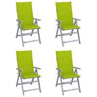 vidaXL Zahradní polohovací židle s poduškami 4 ks masivní akácie