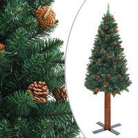 vidaXL Úzký vánoční stromeček pravé dřevo a šišky zelený 210 cm PVC