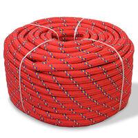 vidaXL Námořní lodní lano, polypropylen, 14 mm, 50 m, červené