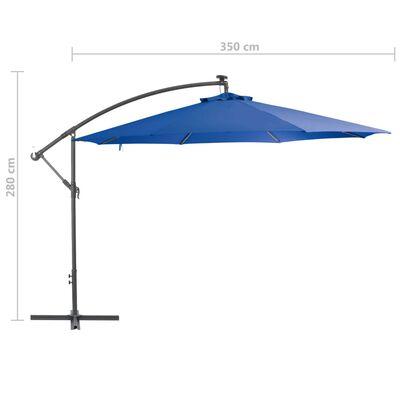 vidaXL Konzolový slunečník s hliníkovou tyčí 350 cm modrý