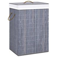 vidaXL Bamboo Laundry Basket Grey