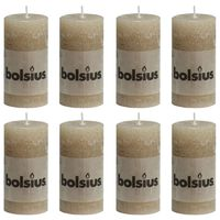Bolsius Rustikální válcové svíčky 8 ks 100 x 50 mm pastelově béžové