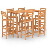 vidaXL 7dílný zahradní barový set masivní akáciové dřevo