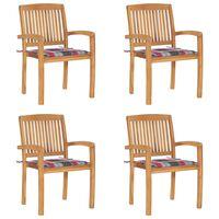 vidaXL Stohovací zahradní židle s poduškami 4 ks masivní teak