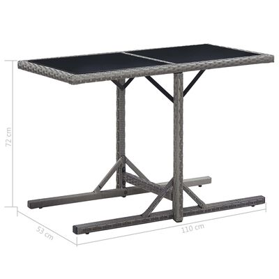 vidaXL Zahradní stůl antracitový 110 x 53 x 72 cm sklo a polyratan
