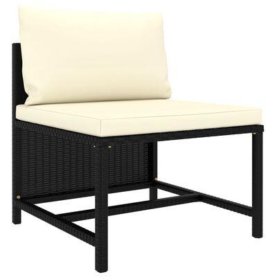 vidaXL 3dílná zahradní sedací souprava s poduškami černá polyratan