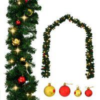 vidaXL Vánoční girlanda ozdobená baňkami a LED světýlky 10 m