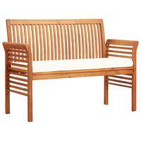 vidaXL 2místná zahradní lavice s poduškou 120cm masivní akáciové dřevo