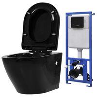 vidaXL Závěsná toaleta s podomítkovou nádržkou keramická černá
