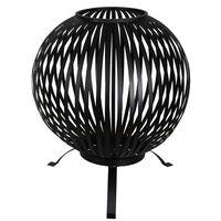 Esschert Design Koš na oheň kulovitý pruhy černý uhlíková ocel FF400