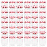 vidaXL Zavařovací sklenice s bíločervenými víčky 48 ks 230 ml