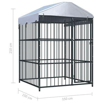 vidaXL Venkovní psí kotec se střechou 150 x 150 x 210 cm,