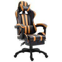 vidaXL Herní židle s podnožkou oranžová umělá kůže
