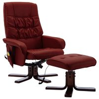 vidaXL Massage Reclining Chair with Footstool Wine Red Faux Leather