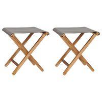 vidaXL Skládací židle 2 ks masivní teakové dřevo a textil tmavě šedé