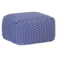 vidaXL Ručně pletený sedací puf modrý 50 x 50 x 30 cm bavlna