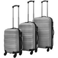 vidaXL Sada tří skořepinových kufrů na kolečkách, stříbrná