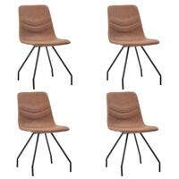 vidaXL Jídelní židle 4 ks hnědé umělá kůže