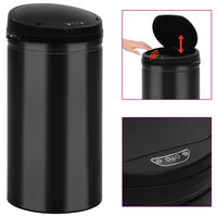 vidaXL Odpadkový koš s automatickým senzorem 50 l uhlíková ocel černý