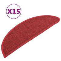 vidaXL Kobercové nášlapy na schody 15 ks červené 65 x 21 x 4 cm