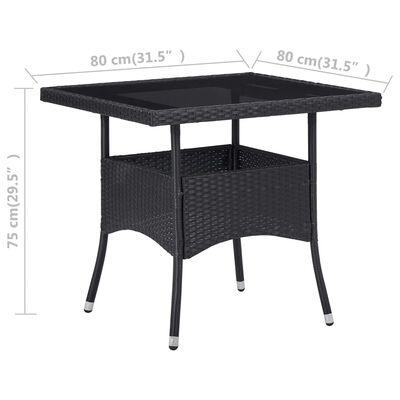 vidaXL Zahradní jídelní stůl černý polyratan a sklo