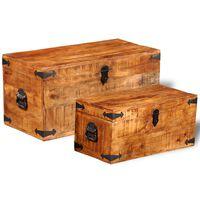 vidaXL Úložné truhly sada 2 ks hrubé mangovníkové dřevo
