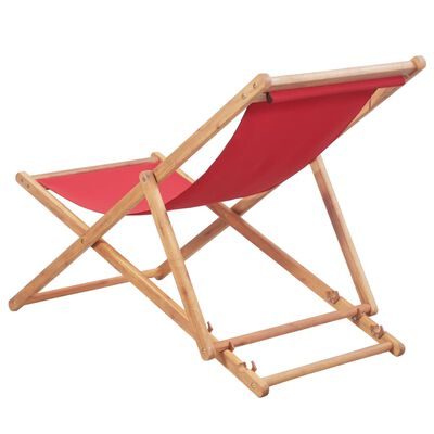vidaXL Skládací plážové křeslo látka a dřevěný rám červené
