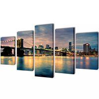 Sada obrazů, tisk na plátně, Brooklynský most s řekou, 200 x 100 cm