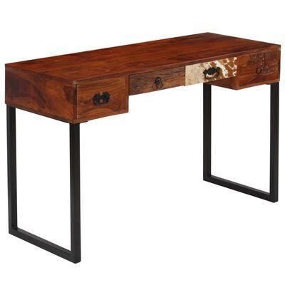 vidaXL Psací stůl masivní sheeshamové dřevo a pravá kůže 117x50x76 cm