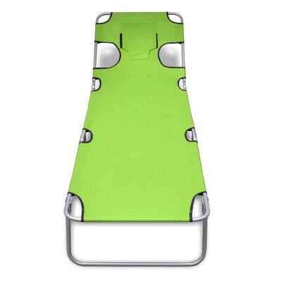 vidaXL Skládací opalovací lehátko s podhlavníky práškovaná ocel zelené